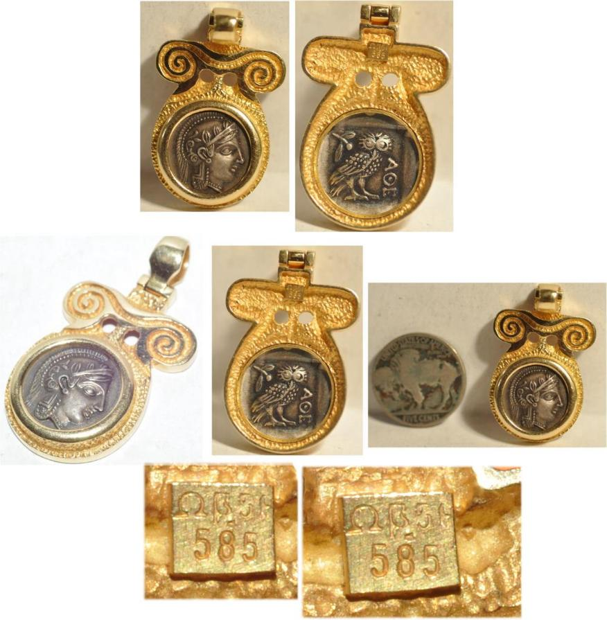 help with 14kt gold greek pendant athena owl ha the